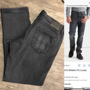 Lucky Brand 410 Athletic Fit Destroyed Black